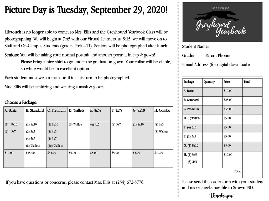 Order form for picture day, Sept. 29