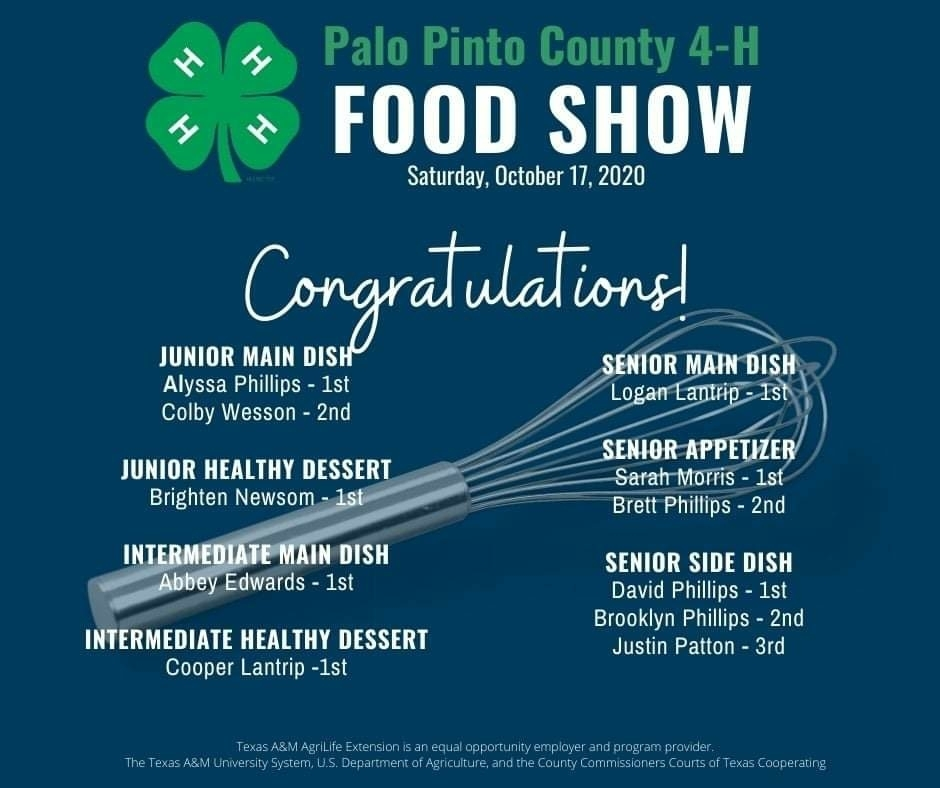 Congratulations to Brighton and Justin, who placed 1st and 3rd today, respectively, in the Palo Pinto County 4-H Food Show!