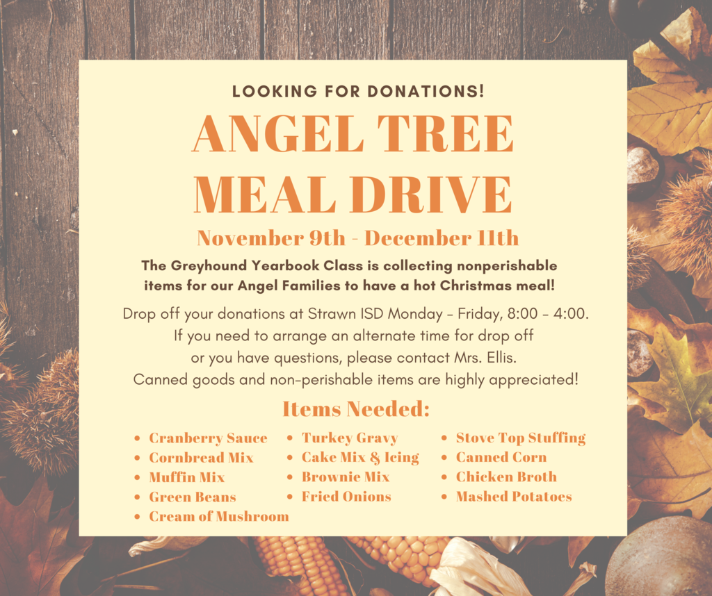 Greyhound Yearbook Class is seeking donations of canned and non-perishable items  for Angel Tree families in December.
