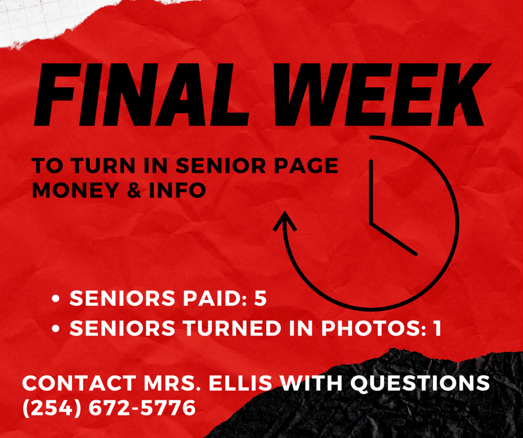 Last week to turn in senior page info and payment