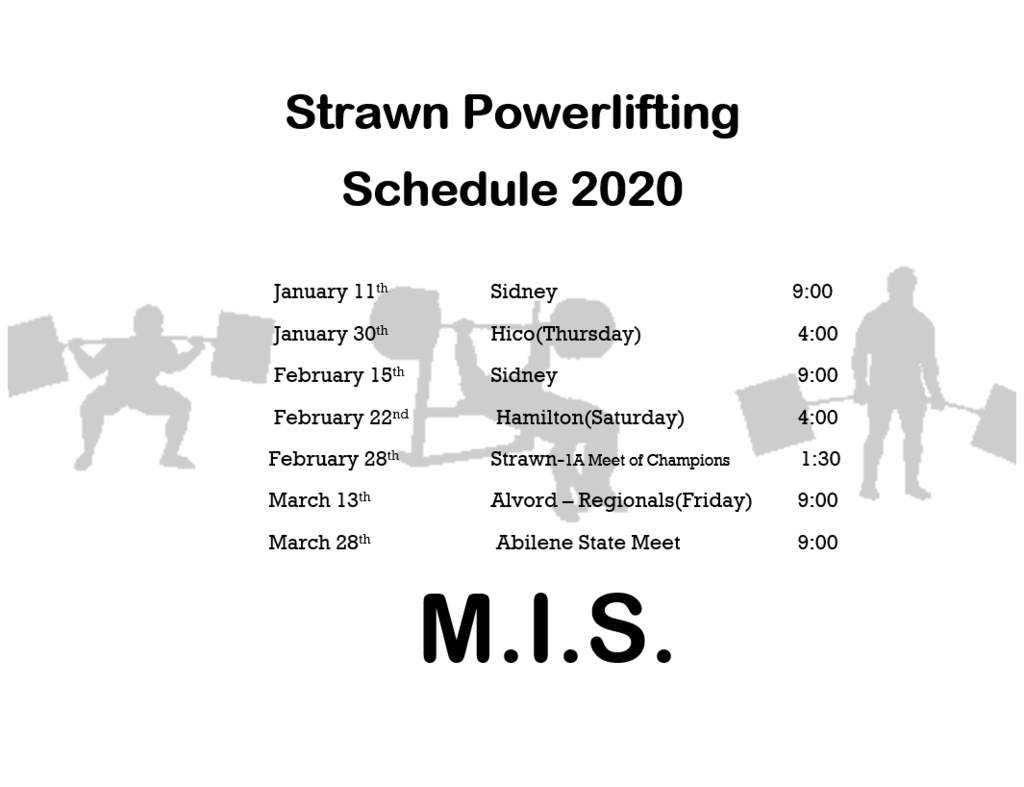 Strawn Powerlifting Schedule 2020
