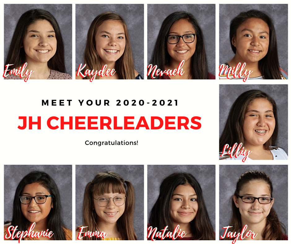 Meet your 2020-2021 Junior High Cheer and Pep Squad! Congratulations!