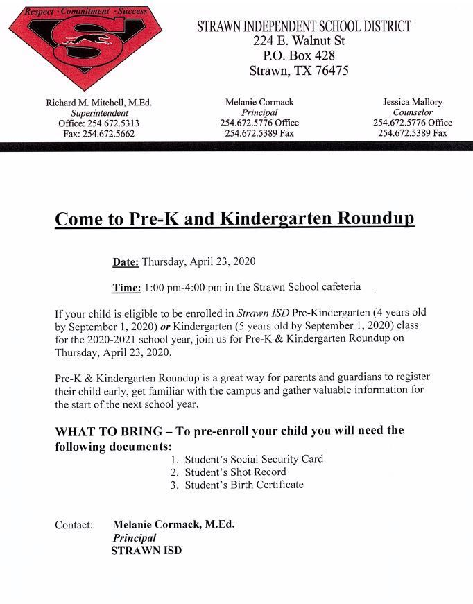 Pre-K & Kindergarten Round Up is April 23rd