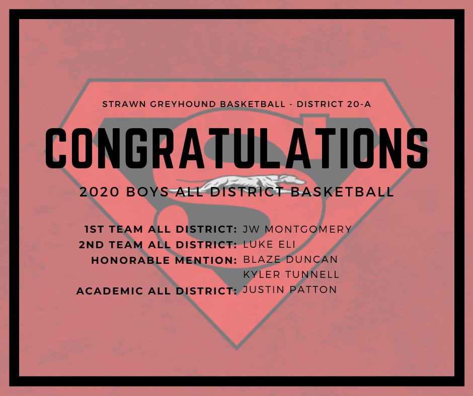 1st Team All District: JW Montgomery 2nd Team All District: Luke Eli Honorable Mention: Blaze Duncan & Kyler Tunnell Academic All District: Justin Patton Congratulations!