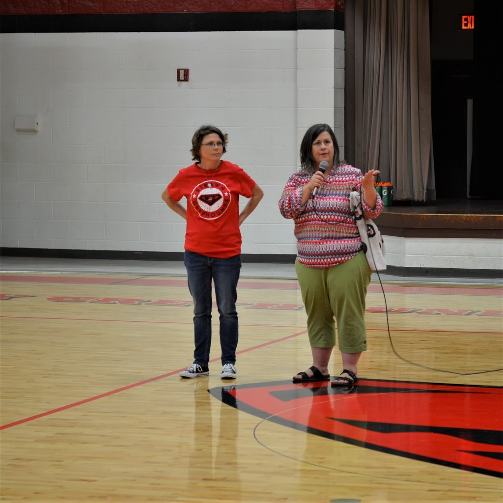 4th and 5th Grade teacher, Carol Pollock, introduces Amy May, who hands out care packages to the homeless. We will be collecting items for these packages throughout the month of March.