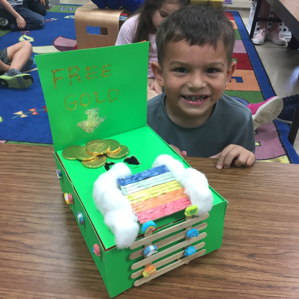 Mrs. Milner's Kindergarten class, with the help of their families, created Leprechaun traps.
