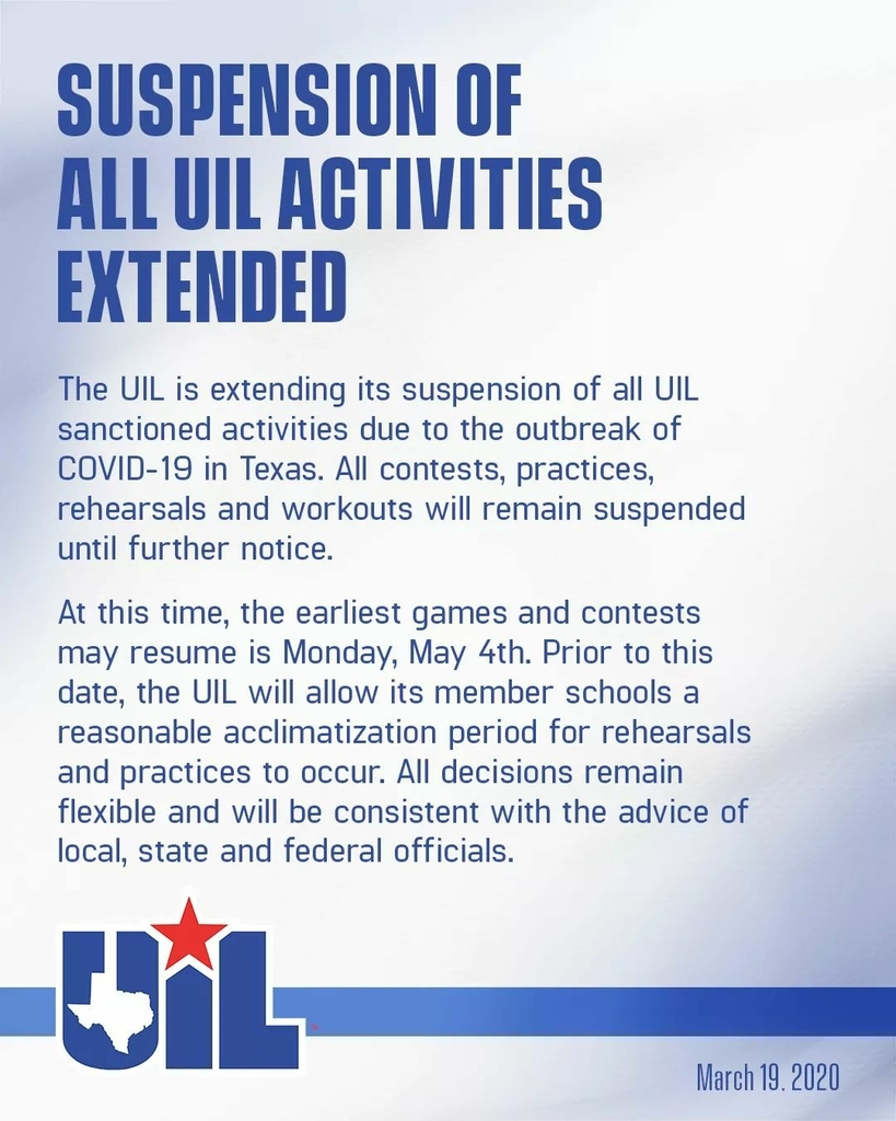 suspension of UIL activities extended
