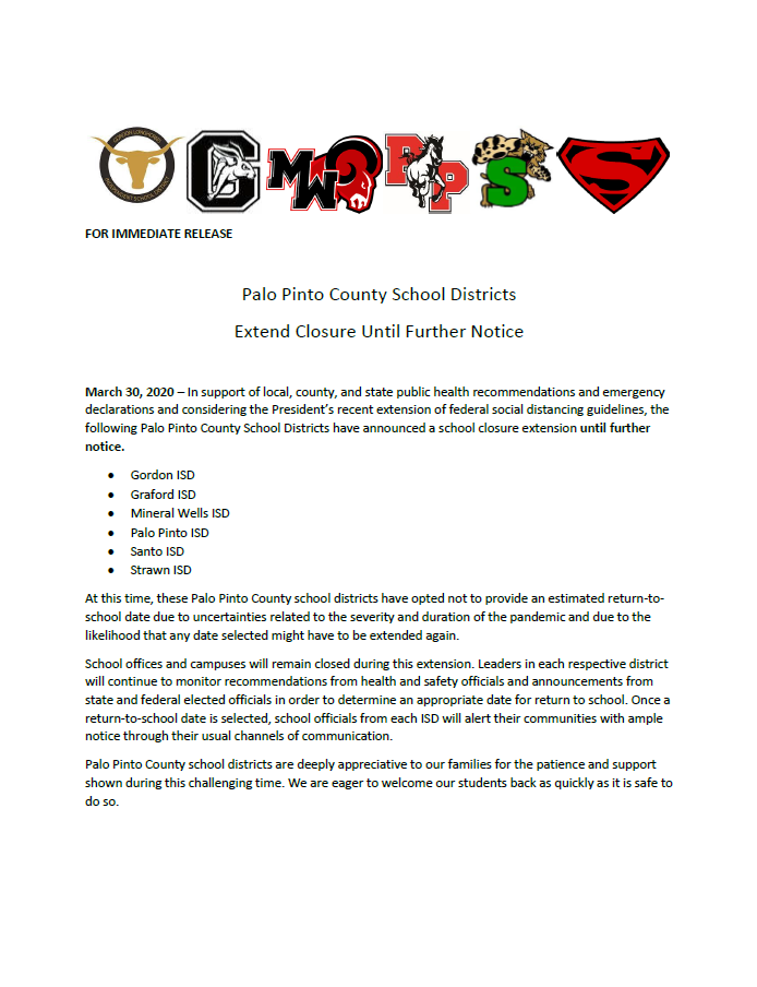 Palo Pinto County School Closure Extension