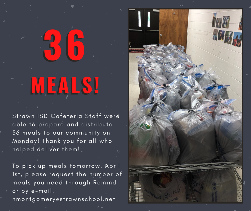 Our cafeteria staff were able to prepare and distribute 36 meals to our community on Monday!
