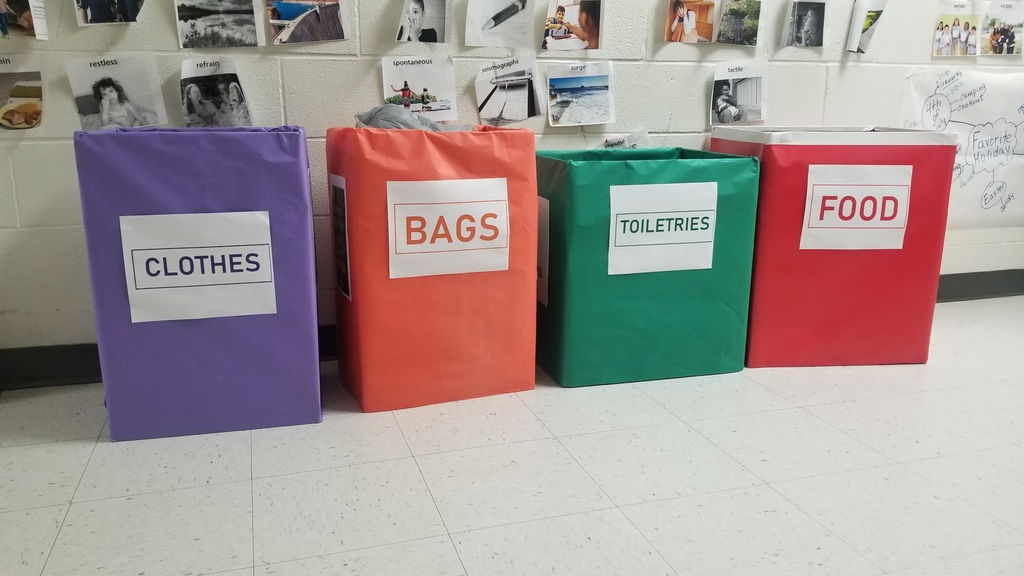 Collection bins for Care Packets for the homeless.