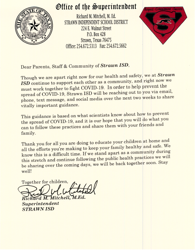 Letter from Mr. Mitchell Regarding Guidance on Preventing the Spread