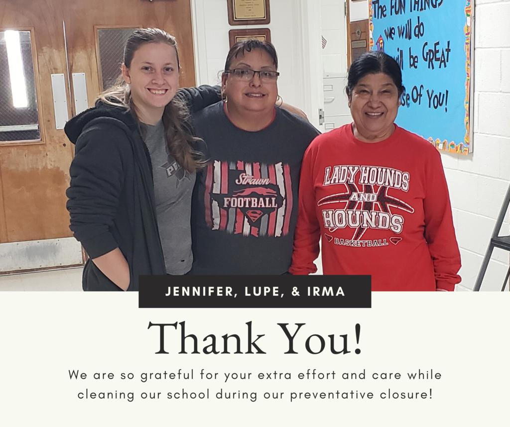 Jennifer, Lupe, and Irma continue to clean and sanitize our campus during preventative closure.