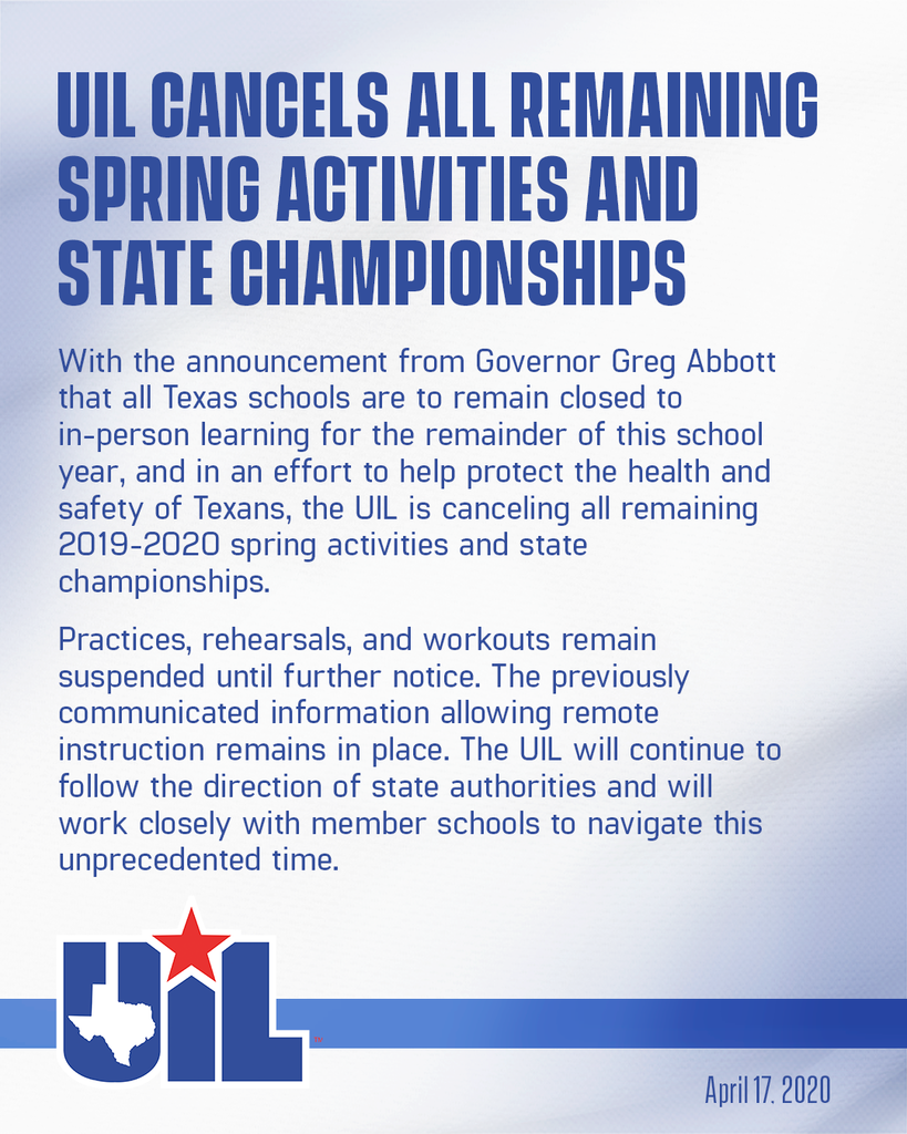 UIL Cancels Events through end of year