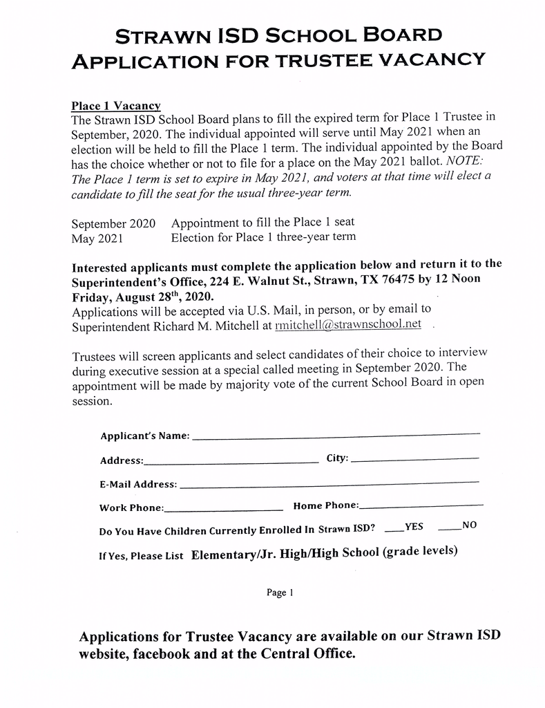 Application for Trustee Vacancy, Page 1