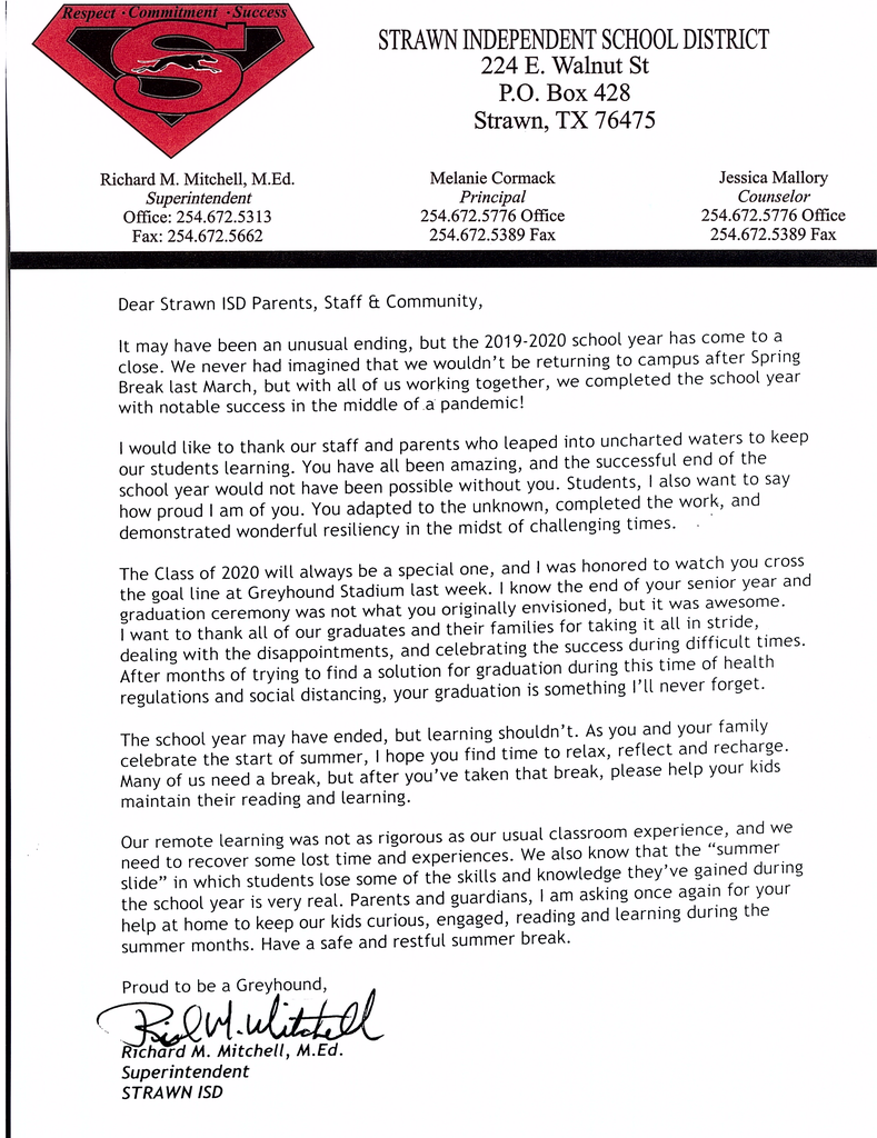 Letter to Strawn ISD Parents, Staff, & Community