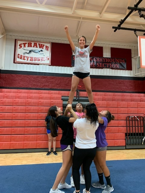 JH & HS Cheerleaders practice during Cheer Camp