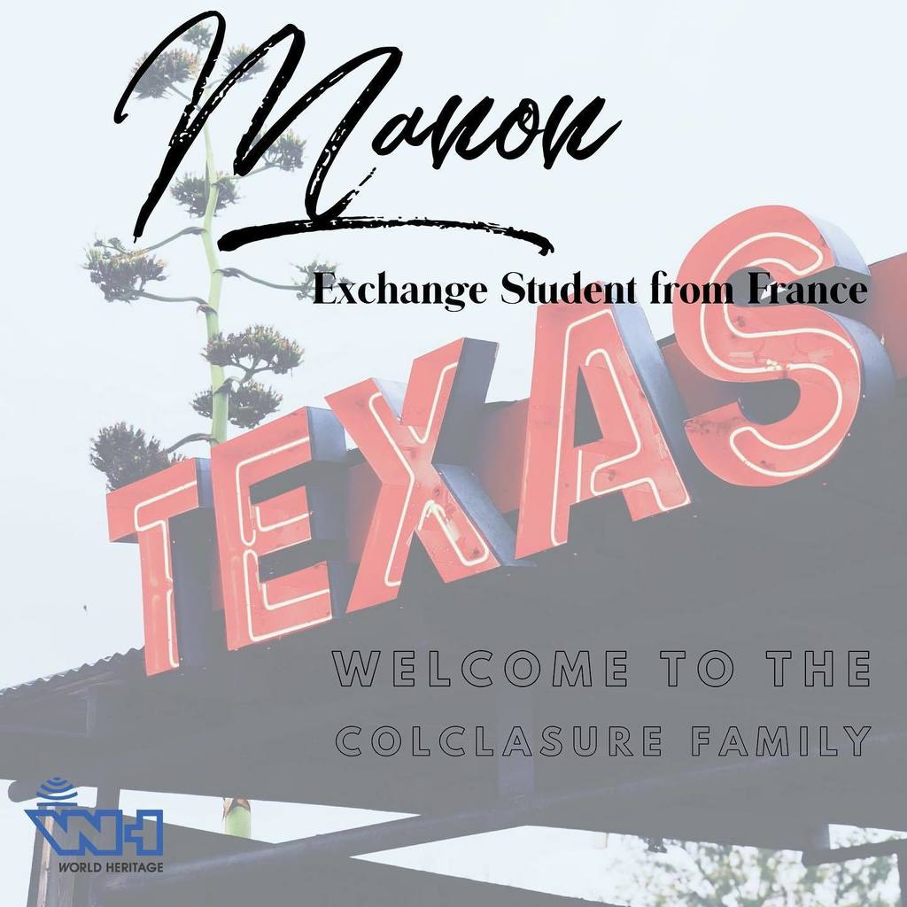 Manon is a foreign exchange student who will be joining us, thanks to the Colclasure family, for the 2020-2021 School Year!