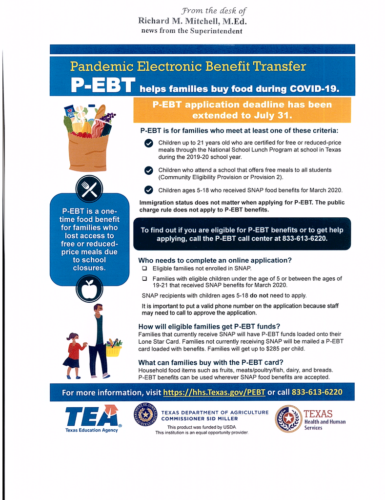The deadline to apply for P-EBT has been extended to July 31st.