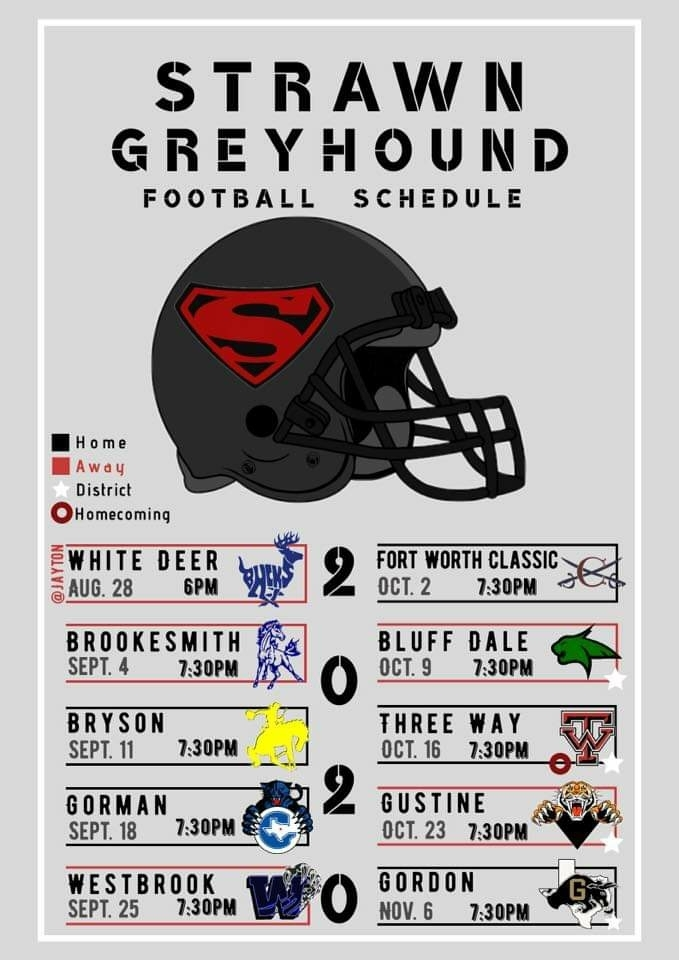 Varsity Football Schedule designed by Isabel Rodriguez