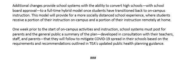 PRESS RELEASE: TEA Announces Additional Reopening Guidance, Including Local Option For Online-Only Start to 2020-2021 School Year cont.