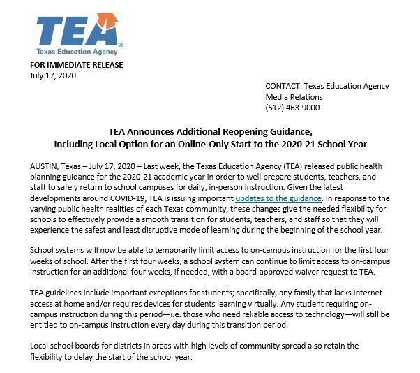 PRESS RELEASE: TEA Announces Additional Reopening Guidance, Including Local Option For Online-Only Start to 2020-2021 School Year