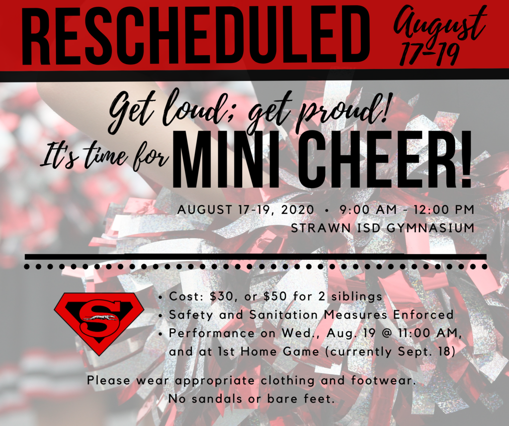 Mini Cheer Camp has been rescheduled for August 17-19, 9AM -12PM.