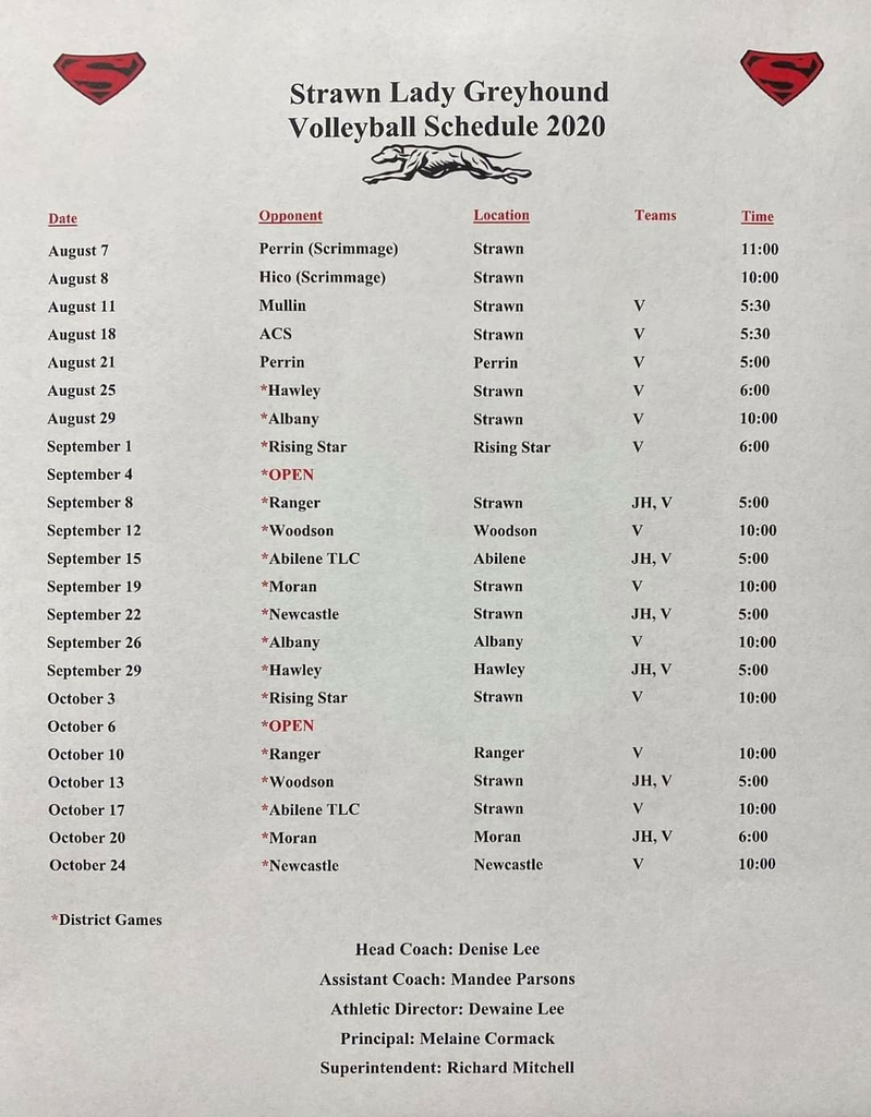 Varsity Volleyball Schedule