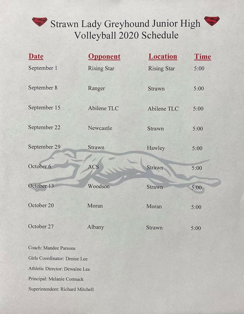 Junior High Volleyball Schedule