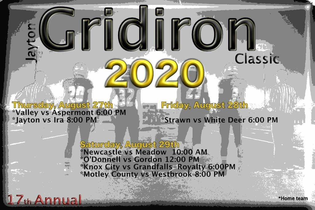 Updated Schedule for the Jayton Gridiron Classic