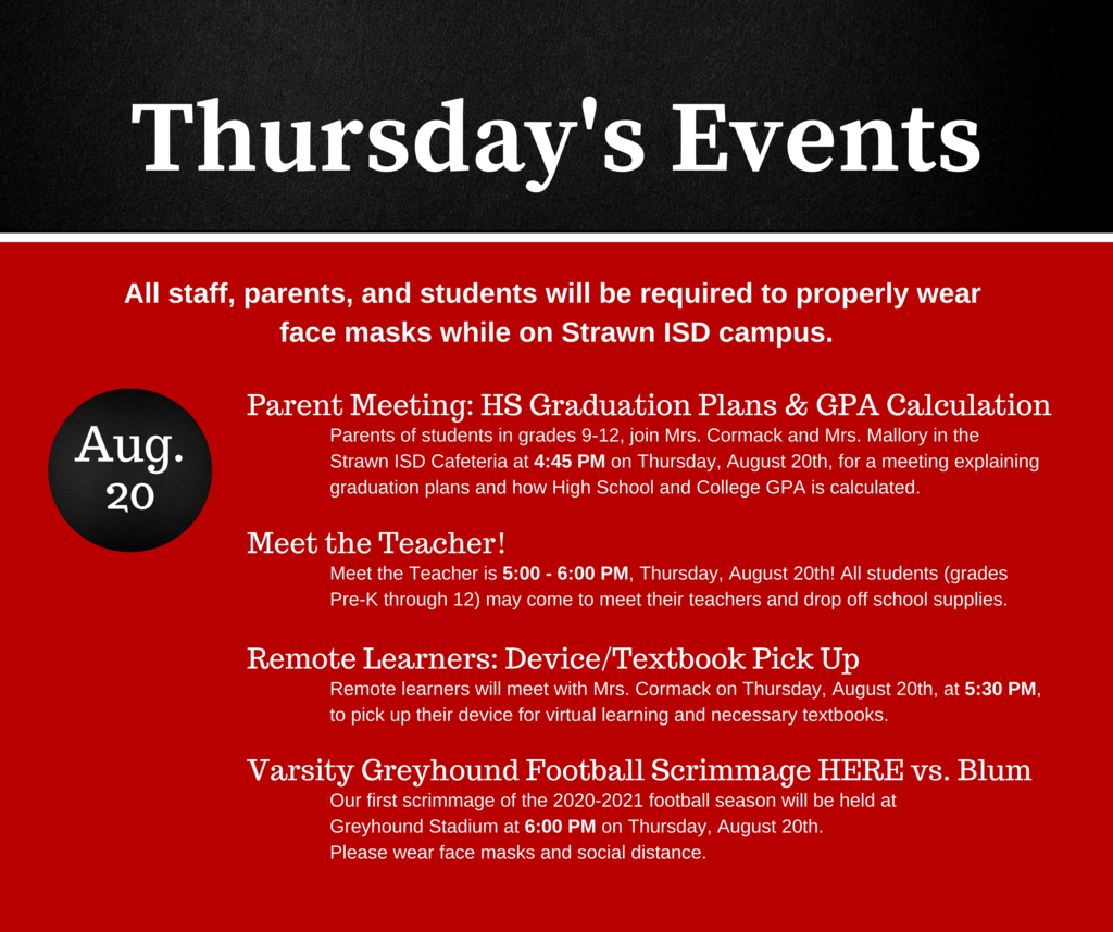 Thursday, August 20th, Events