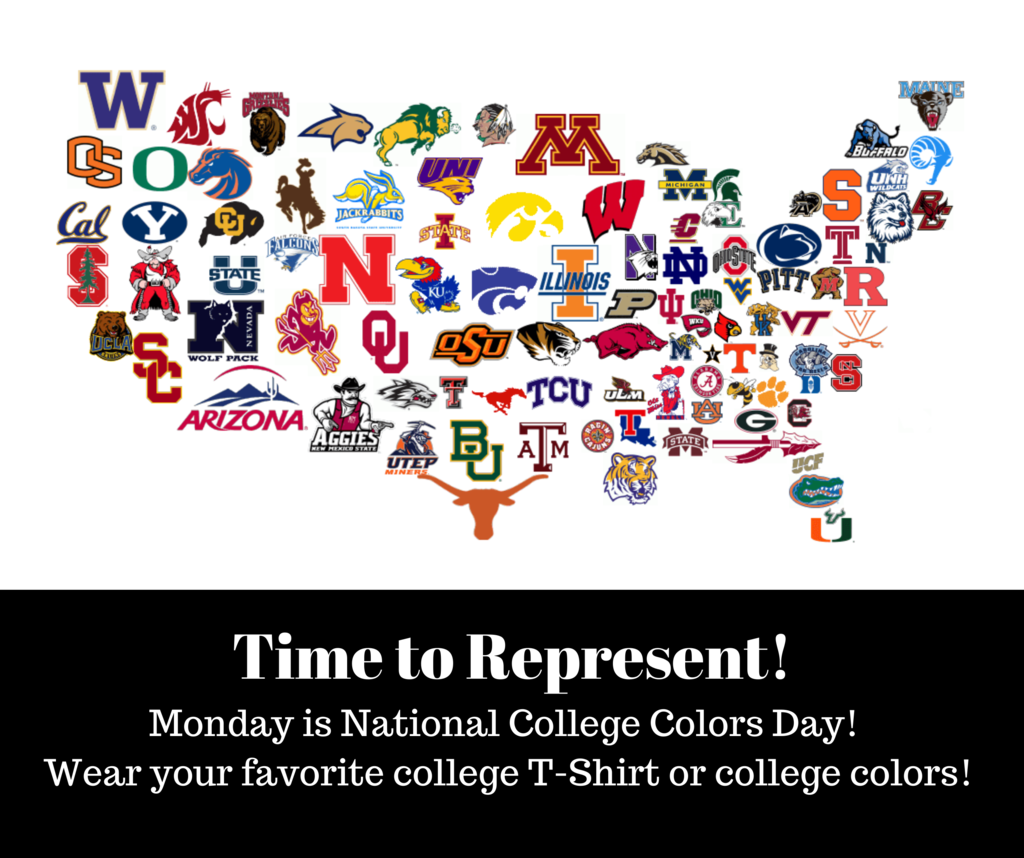 College Colors Day is Monday!