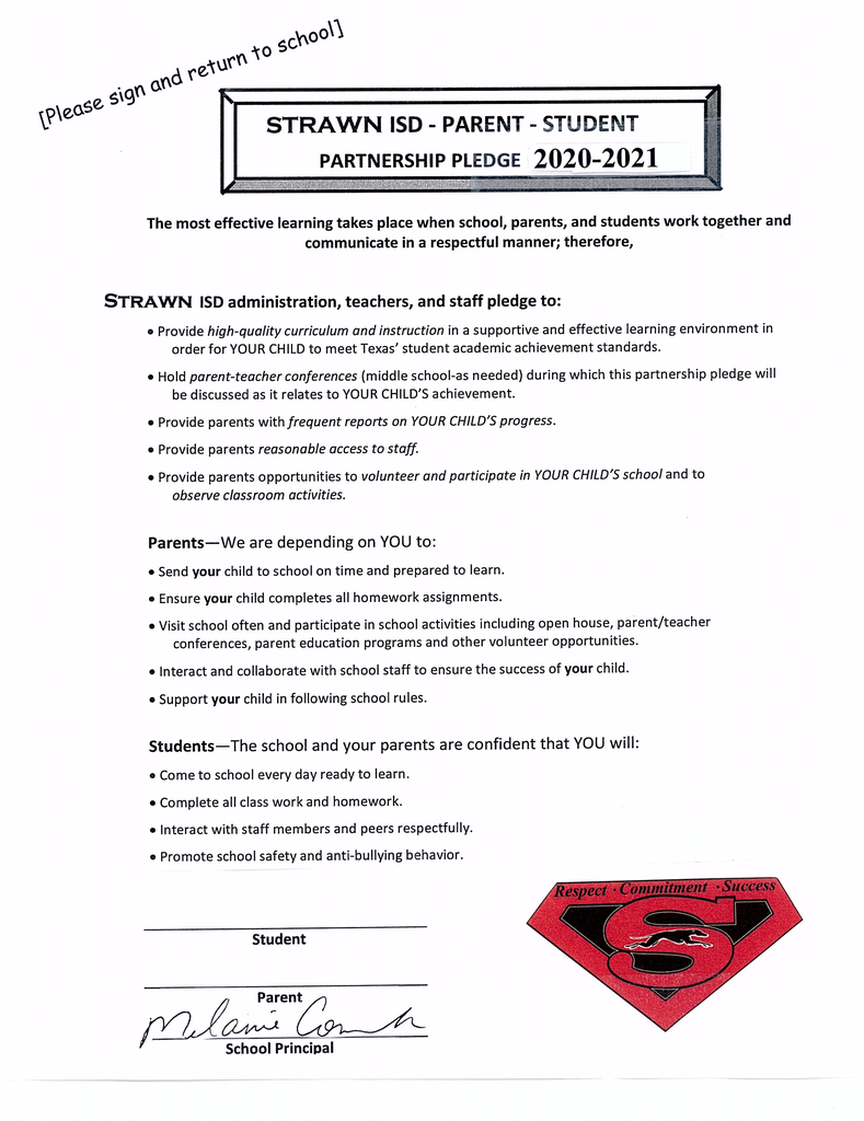 Strawn ISD-Parent-Student Partnership Pledge