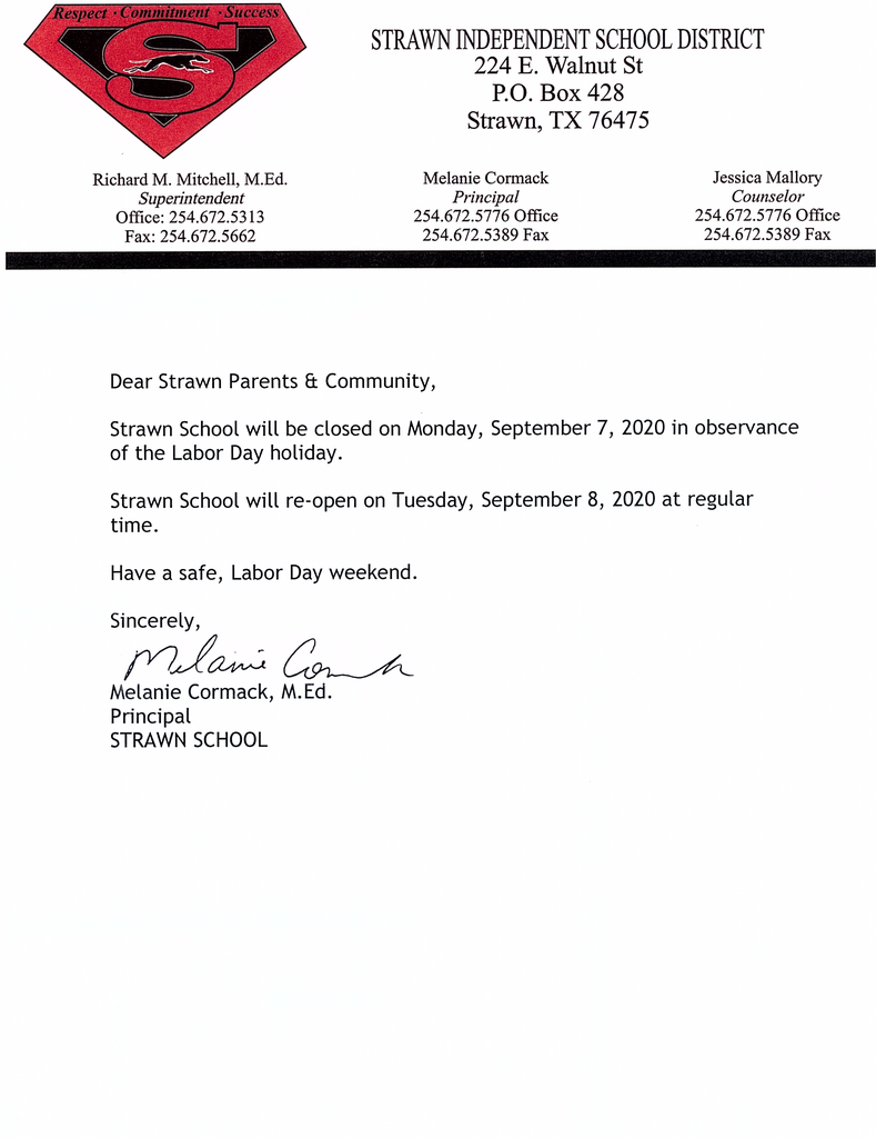 Strawn ISD closed Monday, Sept. 7, for Labor Day