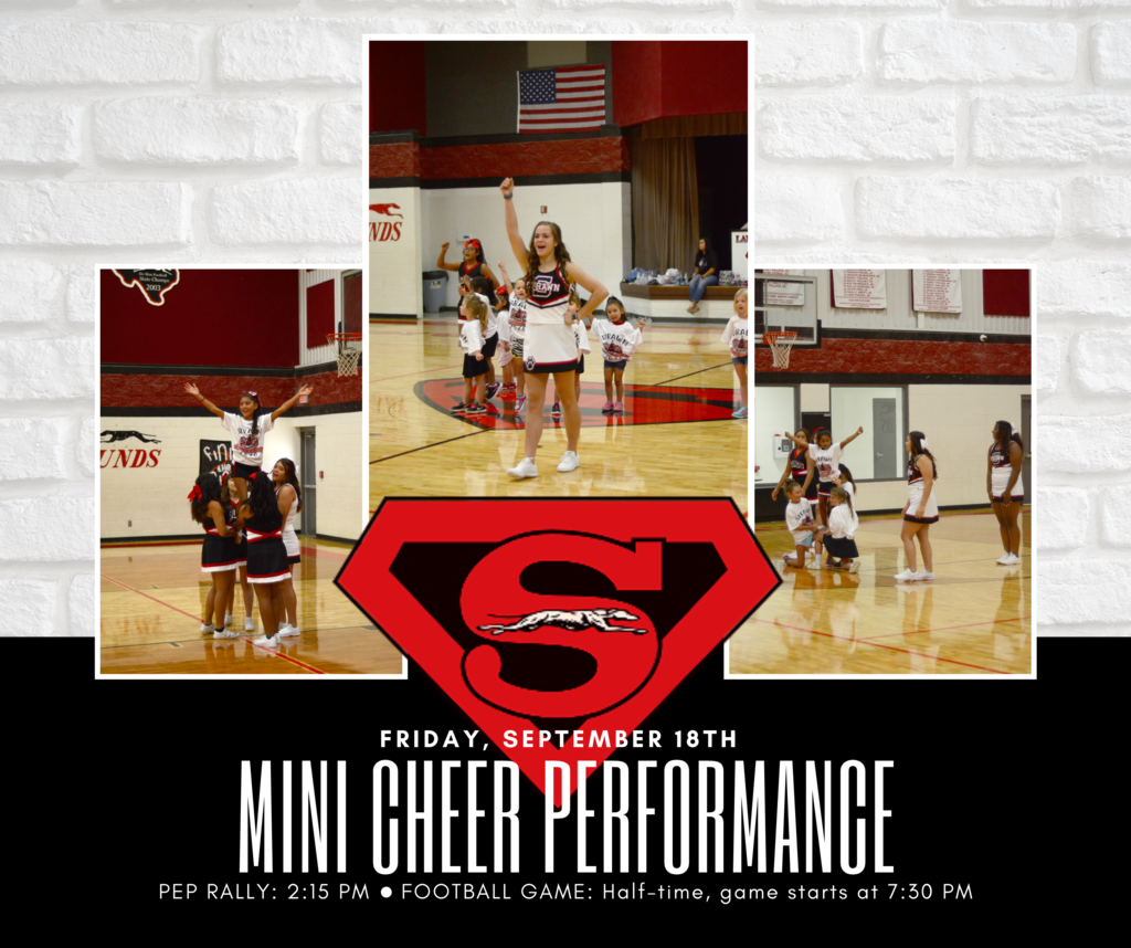 Mini Cheer Pep Rally and Halftime Performance on Friday, Sept. 18