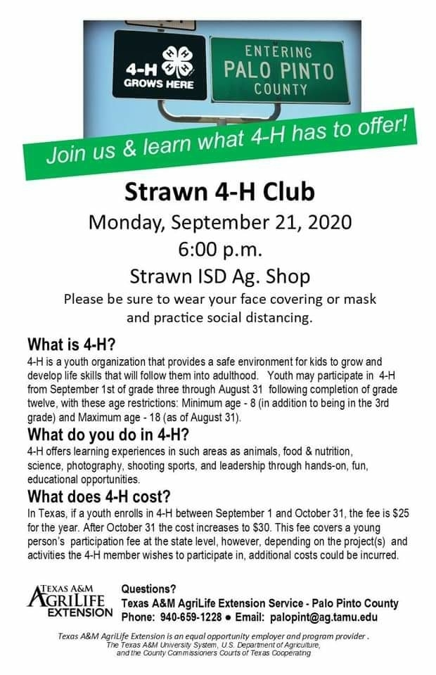 Join us in the ag building at 6:00 on Monday night to learn more about our FFA & 4-H programs!  Remember: face masks are required.