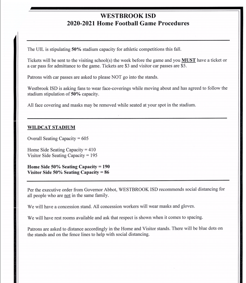 Westbrook ISD Game Procedures